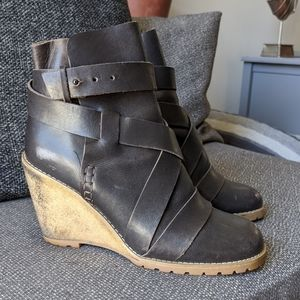 See by Chloe Leather Wrap Boots Wedge EU 39.5 US 9